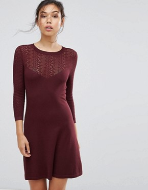 photo Stitch Yoke Skater Knitted Dress by Warehouse, color Berry - Image 1