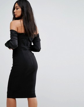 photo Bardot Midi Dress with Ruched Detail by Vesper, color Black - Image 2