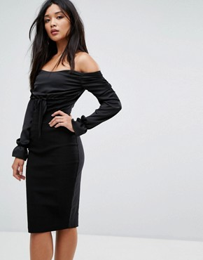 photo Bardot Midi Dress with Ruched Detail by Vesper, color Black - Image 1