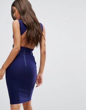 photo Cut Out Midi Dress with Open Back by Vesper, color Navy - Image 2