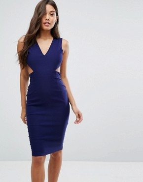 photo Cut Out Midi Dress with Open Back by Vesper, color Navy - Image 1
