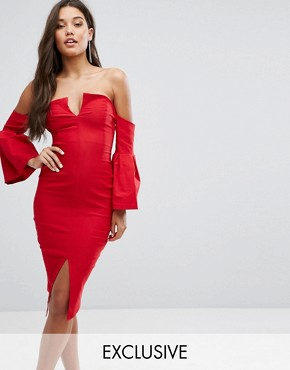 photo Bardot Plunge Front Midi Dress with Sleeve Detail by Vesper, color Red - Image 1