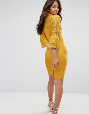 photo High Neck Midi Lace Dress with Double Frill Sleeve by Paper Dolls Tall, color Mustard Gold - Image 2