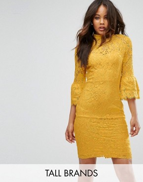 photo High Neck Midi Lace Dress with Double Frill Sleeve by Paper Dolls Tall, color Mustard Gold - Image 1