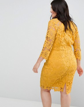 photo Crochet Lace Midi Dress with 3/4 Sleeve by Paper Dolls Plus, color Mustard Gold - Image 2