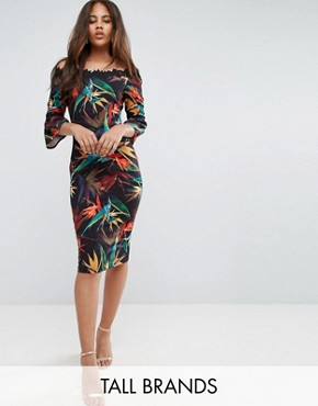 photo Bardot Pencil Dress in Multi Print with Lace Trim by Paper Dolls Tall, color Black Multi - Image 1