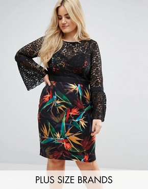 photo 2 in 1 Midi Pencil Dress with Lace Upper and Printed Skirt by Paper Dolls Plus, color Black Multi - Image 1