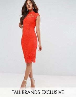 photo High Neck Crochet Lace Pencil Dress by Paper Dolls Tall, color Warm Orange - Image 1