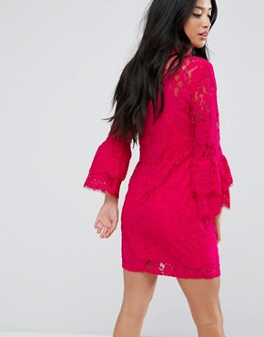 photo High Neck Crochet Mini Dress with Frill Sleeve by Paper Dolls Petite, color Fuchsia - Image 2