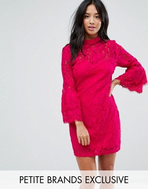 photo High Neck Crochet Mini Dress with Frill Sleeve by Paper Dolls Petite, color Fuchsia - Image 1