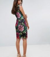 photo High Neck Floral Crochet Lace Pencil Dress by Paper Dolls Tall, color Black Multi - Image 2