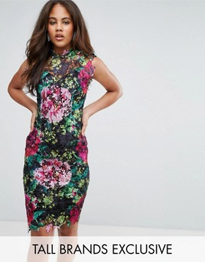 photo High Neck Floral Crochet Lace Pencil Dress by Paper Dolls Tall, color Black Multi - Image 1