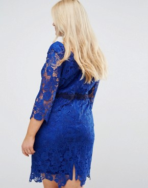 photo 3/4 Sleeve Crochet Lace Dress with Contrast Applique by Paper Dolls Plus, color Bright Blue - Image 2