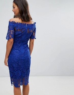 photo Bardot Midi Lace Dress by Paper Dolls Petite, color Bright Blue - Image 2