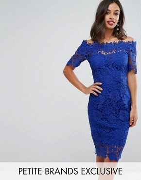 photo Bardot Midi Lace Dress by Paper Dolls Petite, color Bright Blue - Image 1