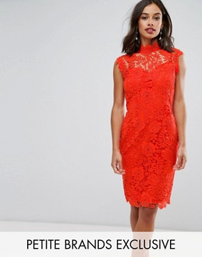 photo High Neck Crochet Lace Pencil Dress by Paper Dolls Petite, color Warm Orange - Image 1