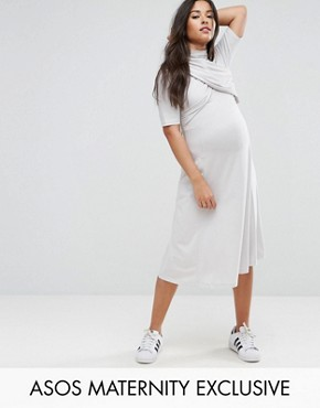photo Twist Front Short Sleeve Skater Dress by ASOS Maternity, color Grey - Image 1