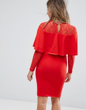 photo Ruffle Front Lace Mix Bodycon Mini Dress by ASOS Maternity, color Red - Image 2