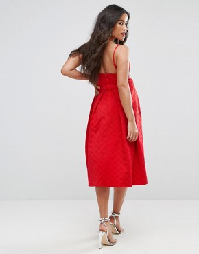 photo Scuba Quilted Prom Midi Dress with Gathered Bodice by ASOS Maternity, color Red - Image 2