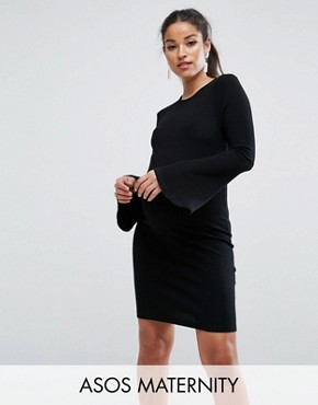 photo Mini Rib Bodycon Dress with Fluted Sleeves by ASOS Maternity, color Black - Image 1