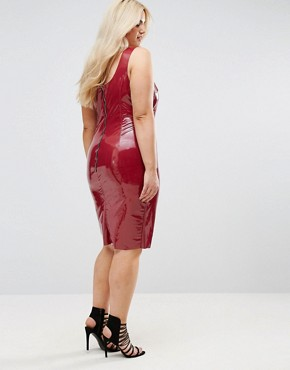 photo High Shine Bodycon Dress by Club L Plus, color Rouge - Image 2