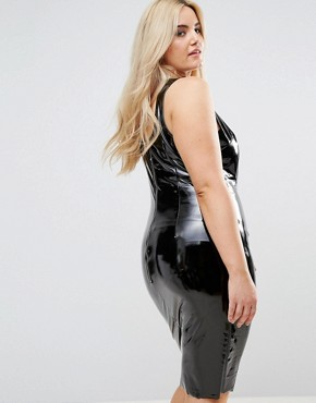 photo High Shine Bodycon Dress by Club L Plus, color Black - Image 2