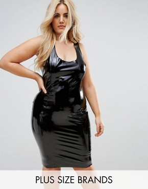 photo High Shine Bodycon Dress by Club L Plus, color Black - Image 1