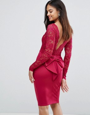photo Long Sleeve Lace Mini Dress with Bow Back by City Goddess, color Raspberry - Image 1