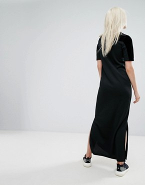 photo Velvet Vibes Polo Maxi Dress by Adidas Originals, color Black - Image 2