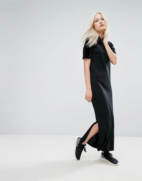 photo Velvet Vibes Polo Maxi Dress by Adidas Originals, color Black - Image 1