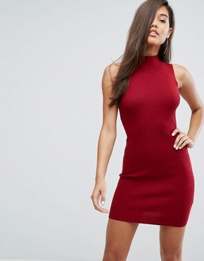 photo High Neck Knitted Dress with Lace Up Back by Parallel Lines, color Burgundy - Image 2