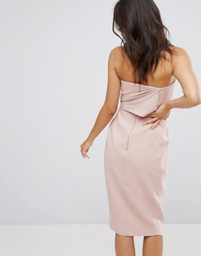 photo Structured Bandeau Pencil Dress with Tie Detail by Misha Collection, color Blush Pink - Image 2