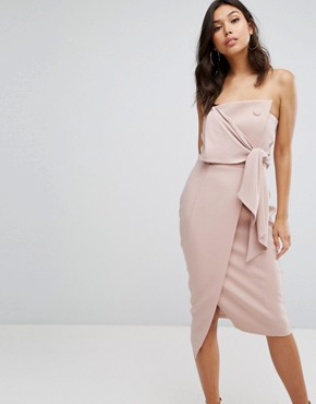 photo Structured Bandeau Pencil Dress with Tie Detail by Misha Collection, color Blush Pink - Image 1