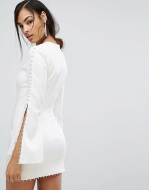photo Fluted Sleeve Mini Dress with Button Detail by Misha Collection, color White - Image 2