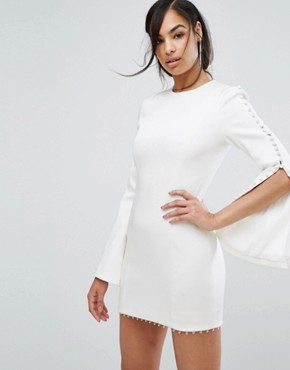 photo Fluted Sleeve Mini Dress with Button Detail by Misha Collection, color White - Image 1