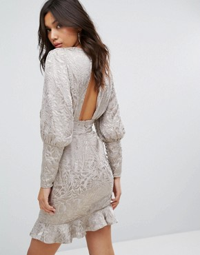 photo Mini Dress with Blouson Sleeve in Burnout by Misha Collection, color Silver Nude - Image 2