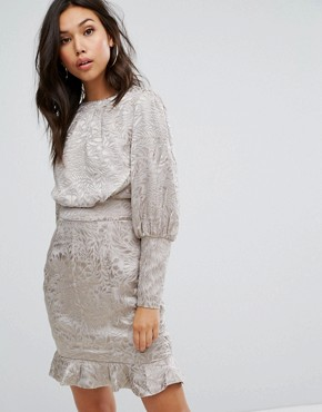 photo Mini Dress with Blouson Sleeve in Burnout by Misha Collection, color Silver Nude - Image 1