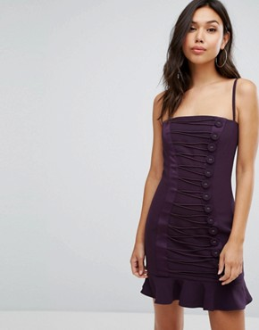 photo Button Detail Mini Dress with Frill Hem by Misha Collection, color Plum - Image 1