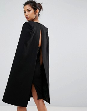 photo Structured Sequin Midi Dress with Cape Overlay by Misha Collection, color Black - Image 2