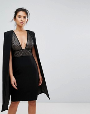photo Structured Sequin Midi Dress with Cape Overlay by Misha Collection, color Black - Image 1
