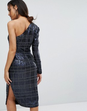 photo One Sleeve Pencil Dress in All Over Embellishment by Misha Collection, color Navy - Image 2