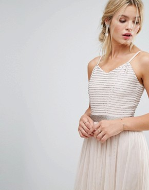 photo Midi Cami Strap Dress with Tulle Skirt and Embellished Upper by Amelia Rose, color Mink - Image 3