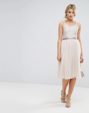 photo Midi Cami Strap Dress with Tulle Skirt and Embellished Upper by Amelia Rose, color Mink - Image 4