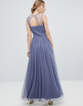 photo Sweetheart Mesh Maxi Dress with Embroidered Trim by Little Mistress, color Lavender Grey - Image 2