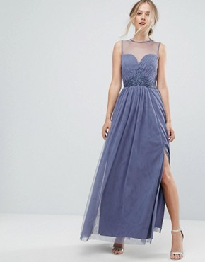 photo Sweetheart Mesh Maxi Dress with Embroidered Trim by Little Mistress, color Lavender Grey - Image 1