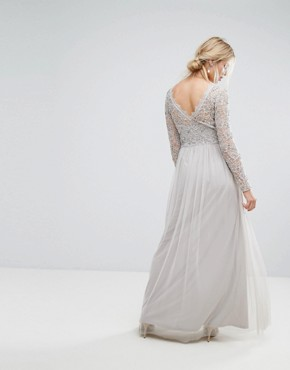 photo Embellished Lace Maxi Dress by Amelia Rose, color Grey - Image 2