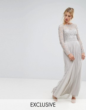 photo Embellished Lace Maxi Dress by Amelia Rose, color Grey - Image 1