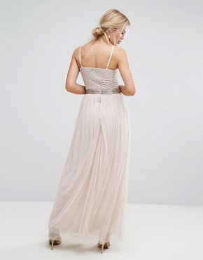photo Maxi Cami Strap Dress with Tulle Skirt and Embellished Upper by Amelia Rose, color Mink - Image 2