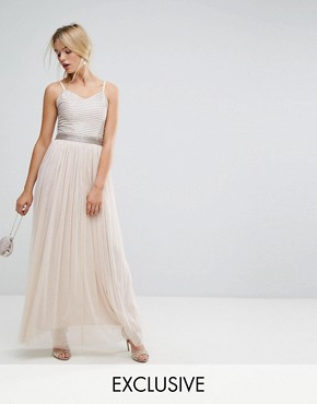 photo Maxi Cami Strap Dress with Tulle Skirt and Embellished Upper by Amelia Rose, color Mink - Image 1