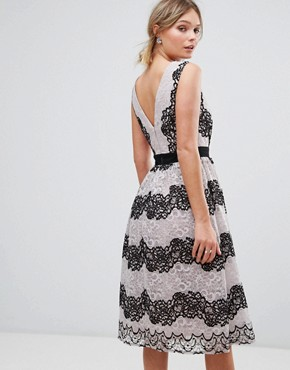 photo Midi Dress in Contrast Lace by Little Mistress, color Monochrome - Image 2